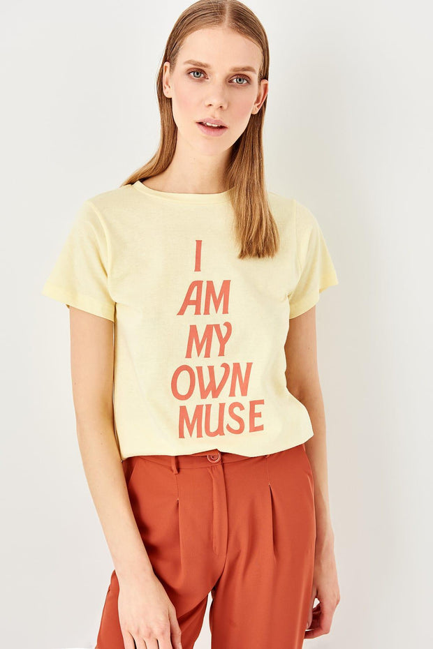 I Am My Own Muse Yellow Printed Knitted Basic T-Shirt-MILLA-SULZ