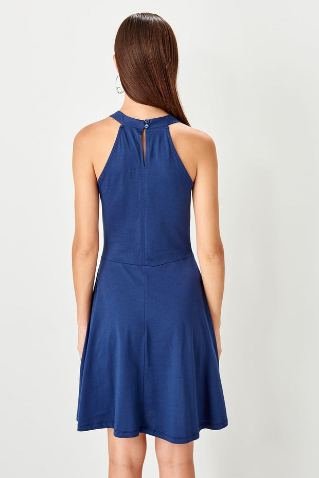 Indigo Collar Detaylı Knit Dress-SULZ-SULZ