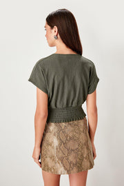 Khaki V-Neck Knitted Blouse-MILLA-SULZ