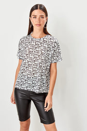 Love White Printed Basic Knitted T-Shirt-MILLA-SULZ