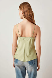 Mint Black Indigo Solid Satin Tops Funnel Collar Sexy Backless Blouse-MILLA-SULZ