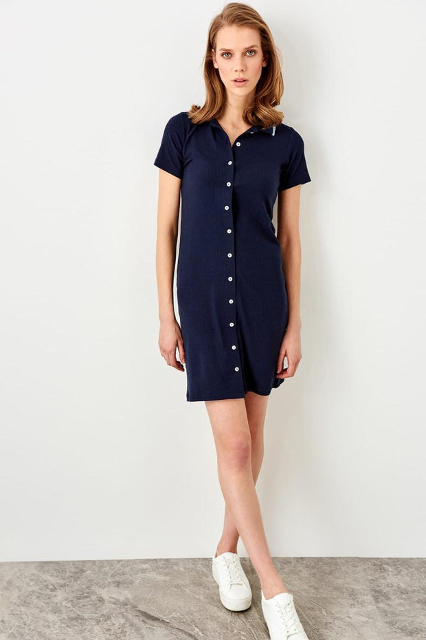 Navy Blue Button Ribbed Knit Dress-MILLA-SULZ