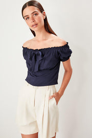 Navy Blue Ruffle Knitted Blouse-MILLA-SULZ