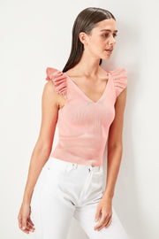 Pink V-Neck Ruffle Sweater Blouse-MILLA-SULZ