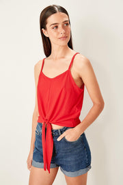Red Lacing Details Knitted Blouse-MILLA-SULZ