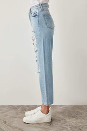 Ripped Blue Jeans Detail High Waist Straight-MILLA-SULZ