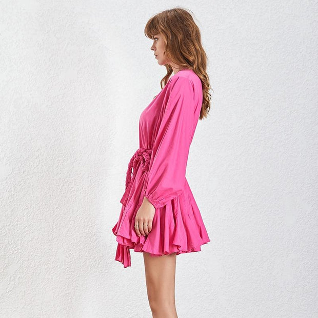 Slim Rose Color Mini Dress-THE TWO TWINS-SULZ