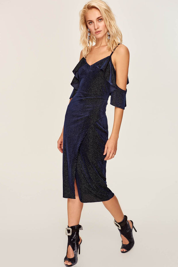 Special Dark Blue Velvet Cloth Dress-MILLA-SULZ
