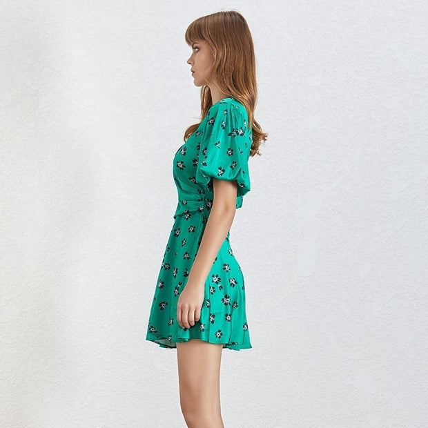 Spring Green Print Mini Dress-THE TWO TWINS-SULZ