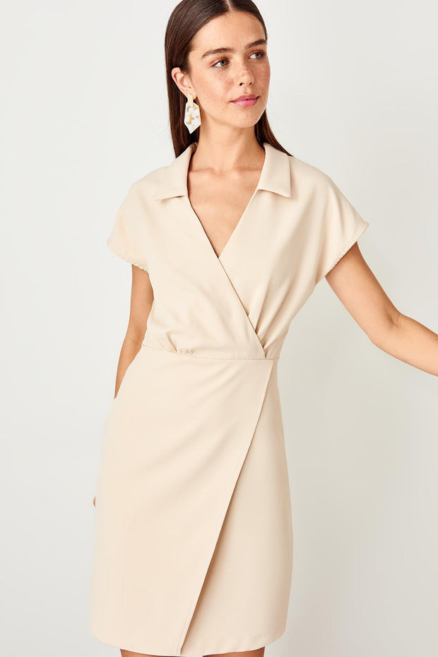 Stone Double Breasted Collar Dress-SULZ-SULZ