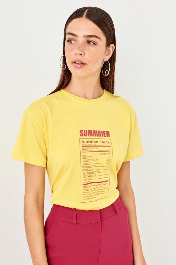 Summer Yellow Basic Printed Knitted T Shirt-MILLA-SULZ