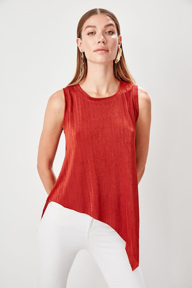 Tile Asymmetrical Details Knitted Blouse-MILLA-SULZ