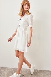 White Button and Belt Detail Dress-MILLA-SULZ