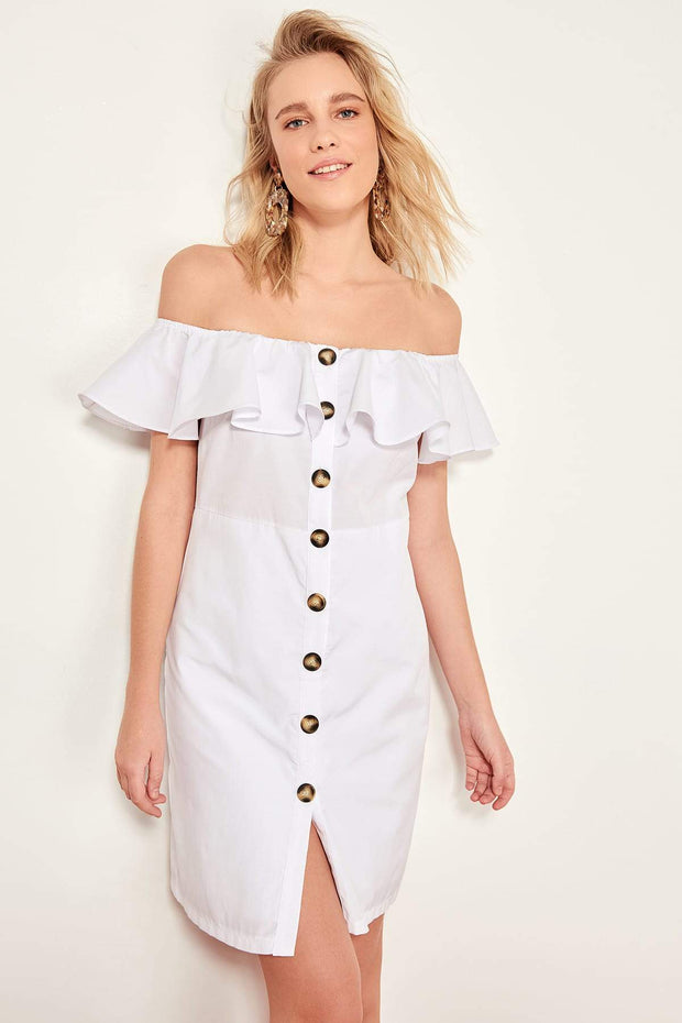 White Button Detail Dress Poplin-MILLA-SULZ
