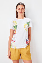 White Printed T Shirt Knitted-MILLA-SULZ