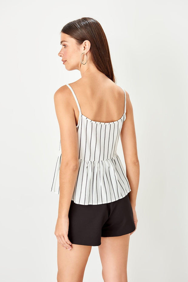 White Striped Casual Blouse-MILLA-SULZ