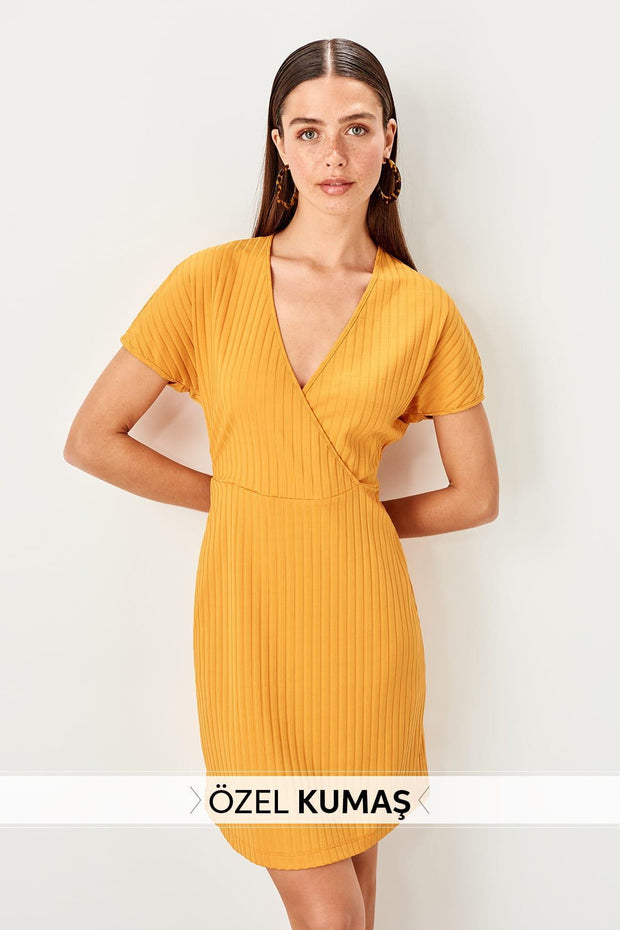 Yellow Double Breasted Knitted Dress-SULZ-SULZ