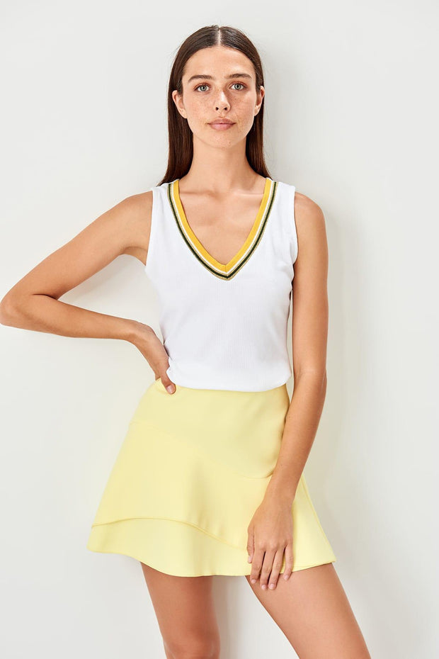 Yellow White V-Neck Knitted Blouse-MILLA-SULZ