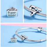 Authentic 925 Sterling Silver Super Mom Mother Engrave Beads for Bracelet or Necklace