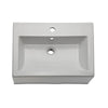 Bluebell Square White Above-Counter Vessel with Overflow and Single-Hole Faucet Deck