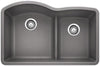 "Diamond 32"" 1-3/4 Bowl with Low-Divide Granite Composite Sink in Silgranit"