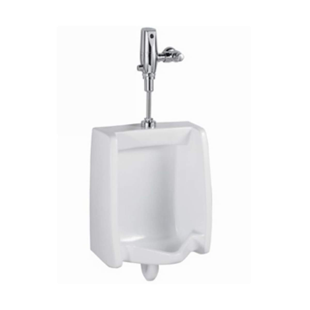White Washbrook FloWise 0.125 GPF Ultra High Efficiency Pint Urinal System with Selectronic Urinal Flush Valve and Urinal Fixture