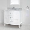 "Mira 36"" x 22"" Vanity in White with Carrara Marble Top & Ceramic Basin"
