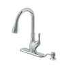 Transitional 1-Handle Pull-Down Kitchen Faucet with Dispenser