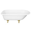 White with Tub with Polished Brass Feet