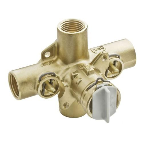 1/2 Inch IPS Posi-Temp Pressure Balancing Rough-In Valve and Pre-Installed Flush Plug - With Stops