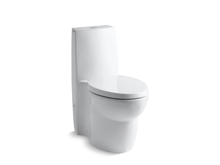 Saile Skirted One-Piece Elongated Dual-Flush Toilet with Top Actuator and Saile Quiet-Close Toilet Seat with Quick-Release Functionality