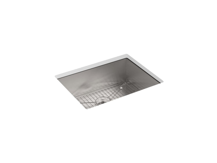 "Vault 25"" x 22"" x 9-5/16"" Top/Under-Mount Single-Bowl Kitchen Sink with 4 Faucet Holes"
