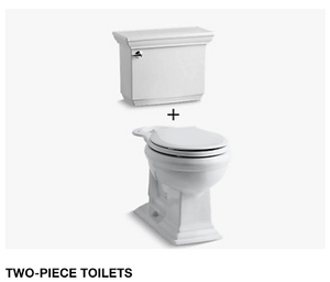 Memoirs Stately Comfort Height Two-Piece Round-Front 1.28 GPF Toilet with AquaPiston Flushing Technology and Left-Hand Trip Lever