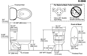 Wellworth Two-Piece Elongated 1.28 GPF Toilet with Class Five Flush Technology and Left-Hand Trip Lever