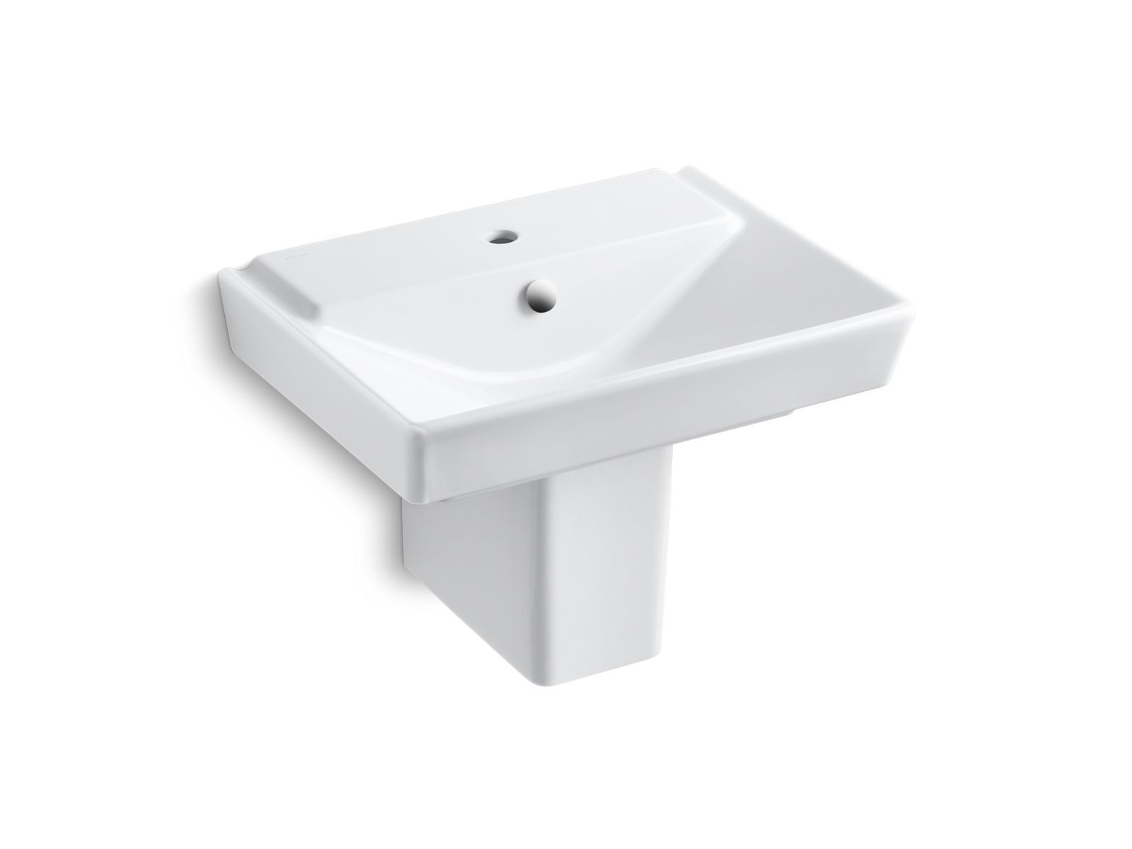 "Rêve 23"" Semi-Pedestal Bathroom Sink with Single Faucet Hole and Shroud"