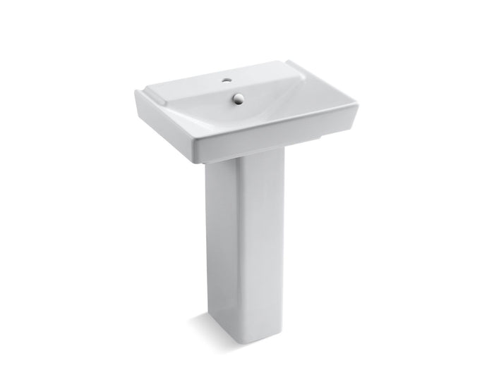 "Rêve 23"" Pedestal Bathroom Sink with Single Faucet Hole and Shroud"