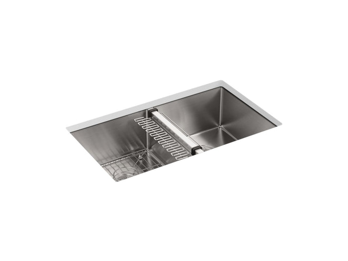 KOHLER K-5281-NA Strive 32 X 18-1/4 X 9-5/16-Inch Under-Mount Double-Equal Kitchen Sink with Basin Rack, Stainless Steel