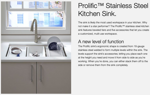 "Prolific 33"" Under-Mount Single-Bowl Kitchen Sink with Accessories"