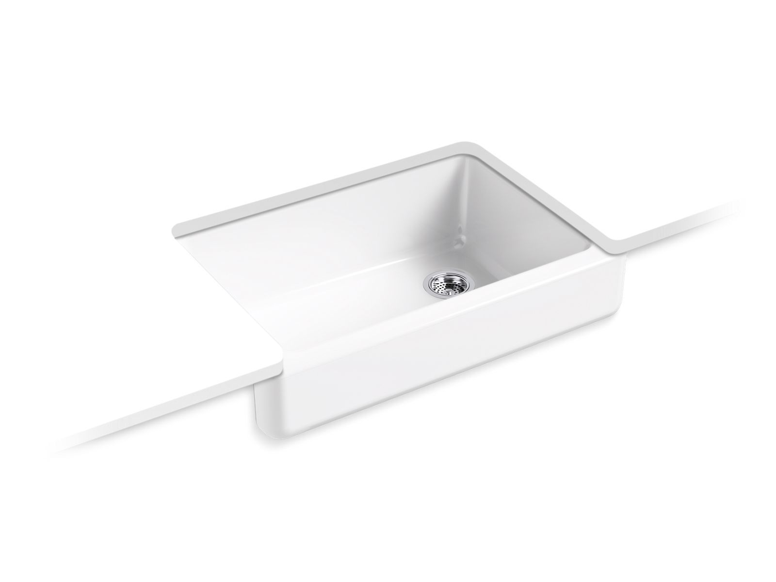 "Whitehaven Self-Trimming 32-1/2"" x 21-9/16"" x 9-5/8"" Under-Mount Single-Bowl Sink with Short Apron"