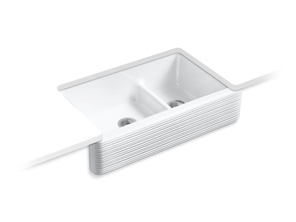 "Whitehaven Self-Trimming Smart Divide 35-11/16"" x 21-9/16"" x 9-5/8"" Under-Mount Kitchen Sink with Tall Apron and Hayridge Design"