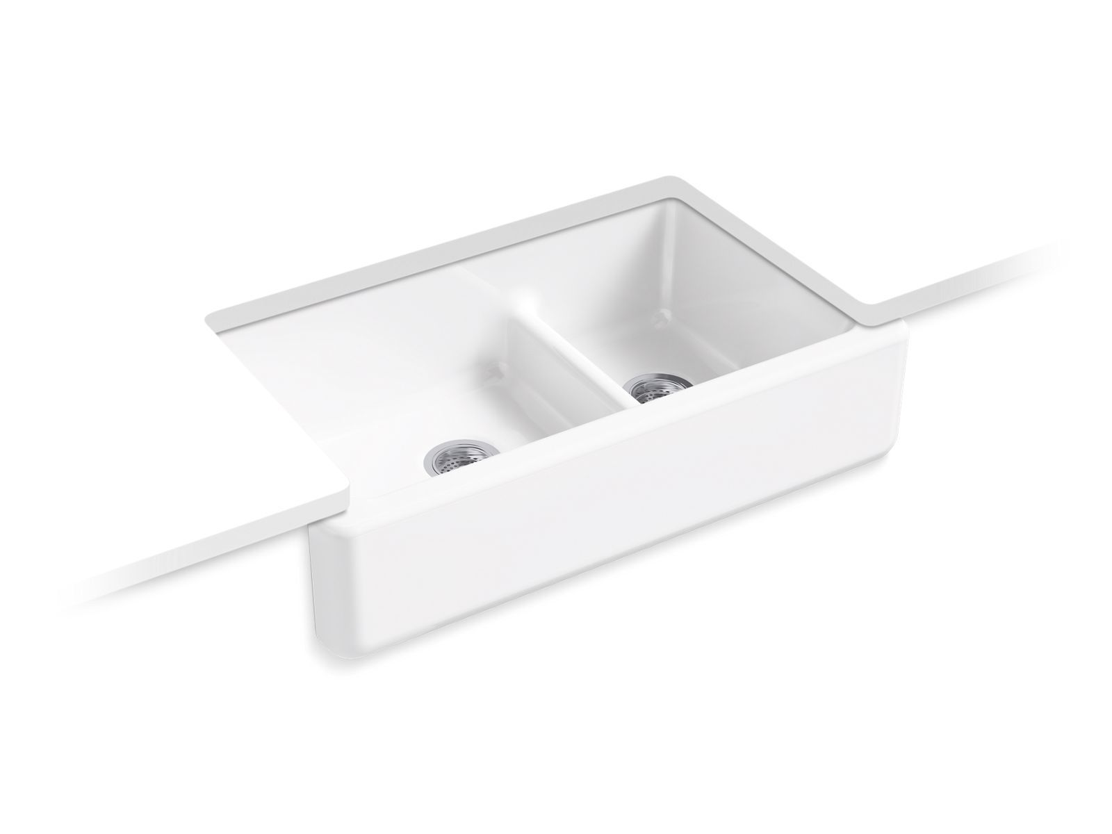 "Whitehaven Self-Trimming 35 11/16"" x 21 9/16"" Under-Mount Large/Medium Double-Bowl Kitchen Sink with Tall Apron"