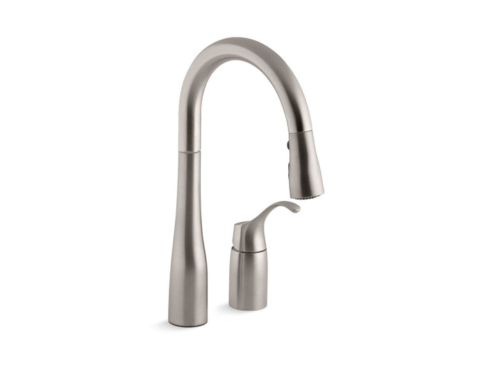 "Simplice Two-Hole Kitchen Sink Faucet with 14-3/4"" Pull-Down Swing Spout"