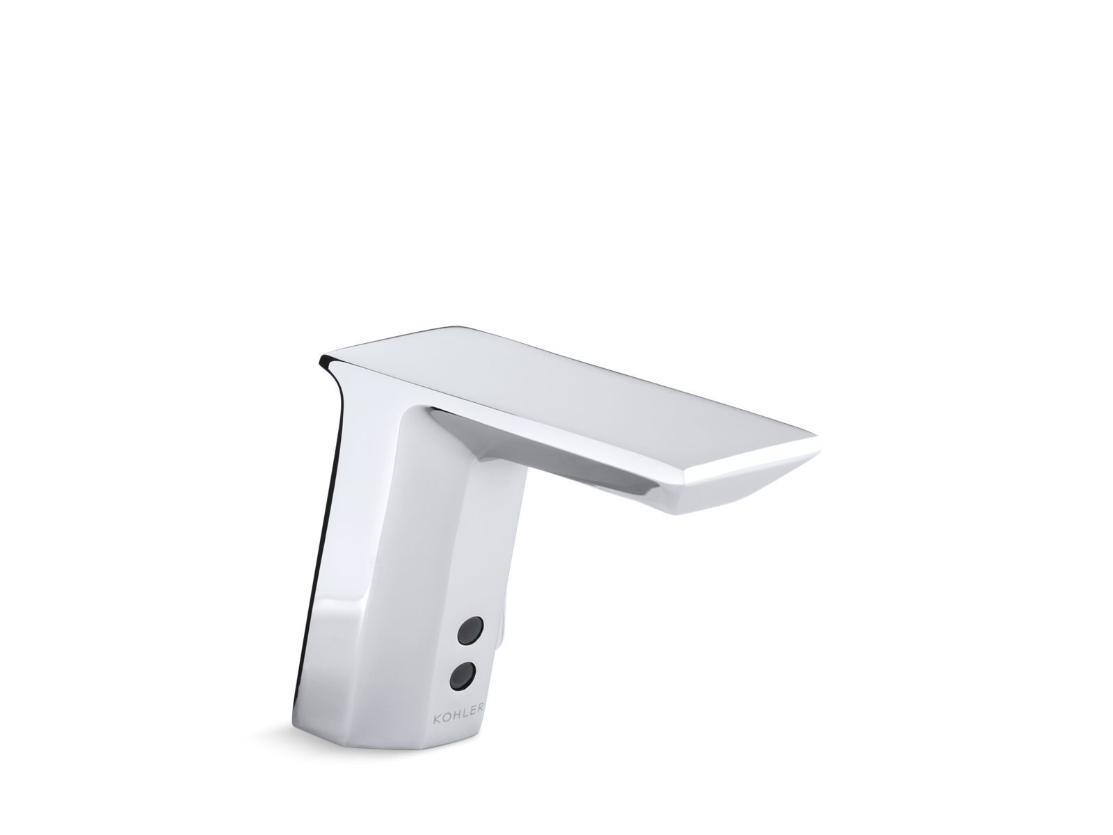 Geometric Single-Hole Touchless Hybrid Energy Cell-Powered Commercial Bathroom Sink Faucet with Insight Technology