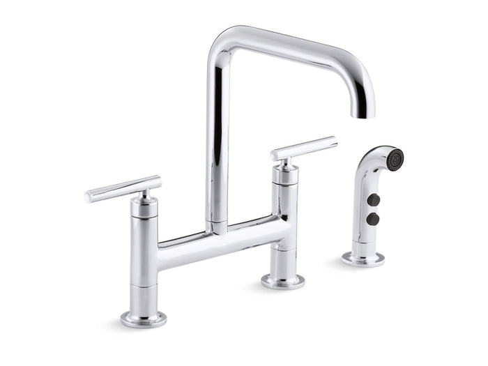 "Purist Two-Hole Deck-Mount Bridge Kitchen Sink Faucet with 8-3/8"" Spout and Sidespray"