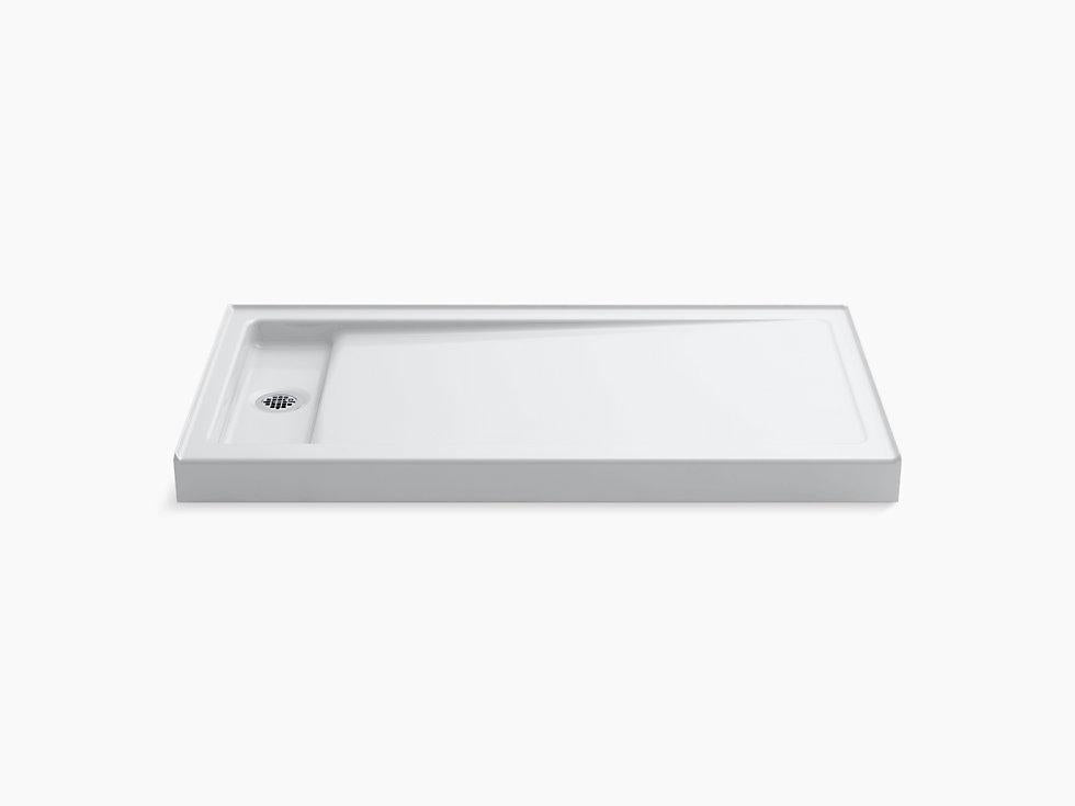 "Bellwether® 60"" x 32"" single-threshold shower base with left offset drain"