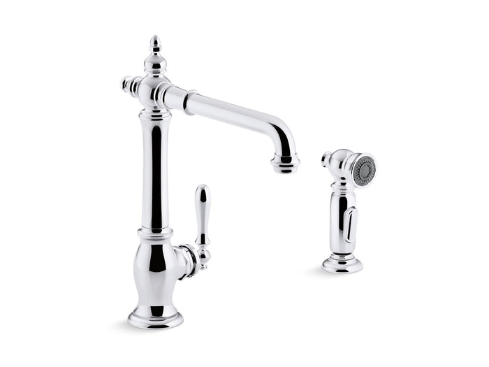 "Artifacts 2-Hole Kitchen Sink Faucet with 13-1/2"" Swing Spout and Matching Finish Two-Function Sidespray with Sweep and BerrySoft Spray"