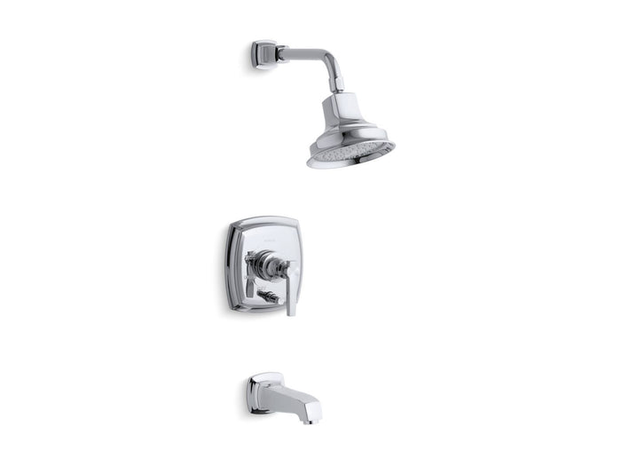 Margaux Rite-Temp Pressure-Balancing Bath and Shower Faucet Trim with Push-Button Diverter and Lever Handle