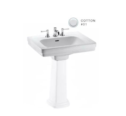 "Promenade 24"" Pedestal Bathroom Sink with 3 Faucet Holes Drilled and Overflow - Less Pedestal"