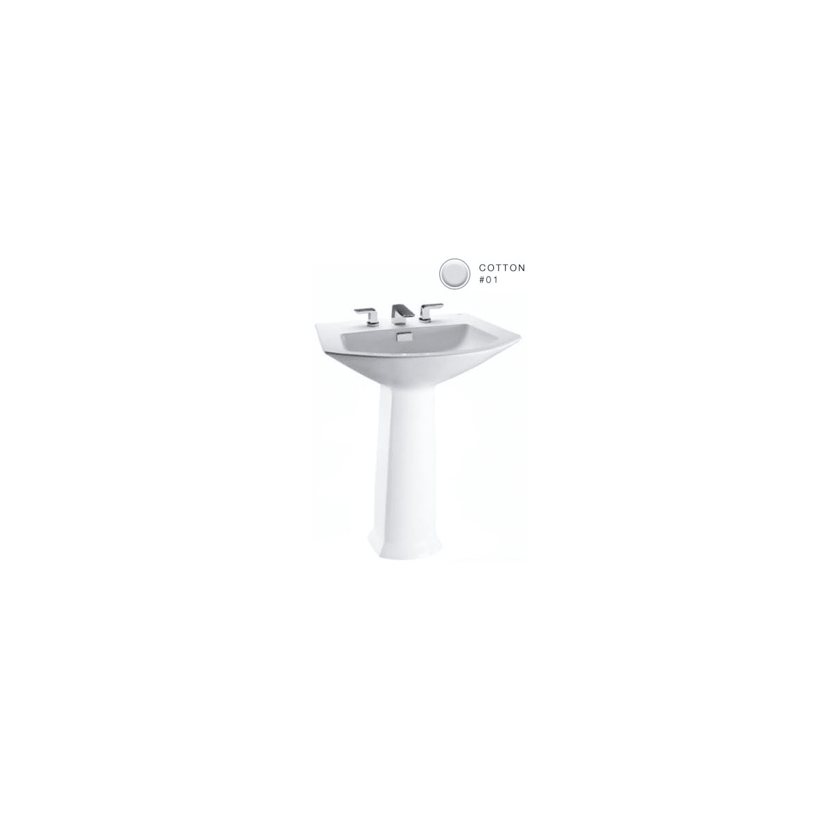 "Soiree 29-1/2"" Pedestal Bathroom Sink with 3 Faucet Holes Drilled and Overflow - Less Pedestal"