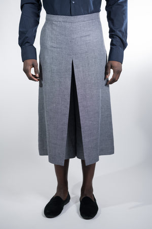 Man Skirt Pants Grey Linen